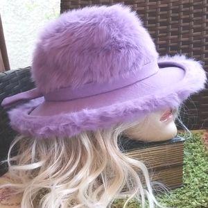60s Miss DIOR Christian Lilac Angora Fur Union Hat
